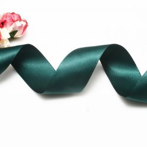 Double faced Colour Ribbons, Polyester, Dark green, 1.84cm x 25mm, (SDD138)